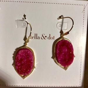 Stella & Dot Burgundy Druzy Earrings Retired